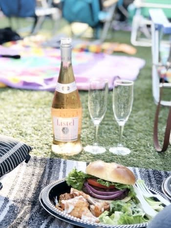 food and wine for movie night at Hotel Irvine