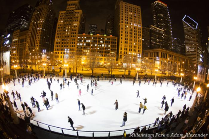 People ice skating at the McCormick Tribune Ice Rink in Chicago