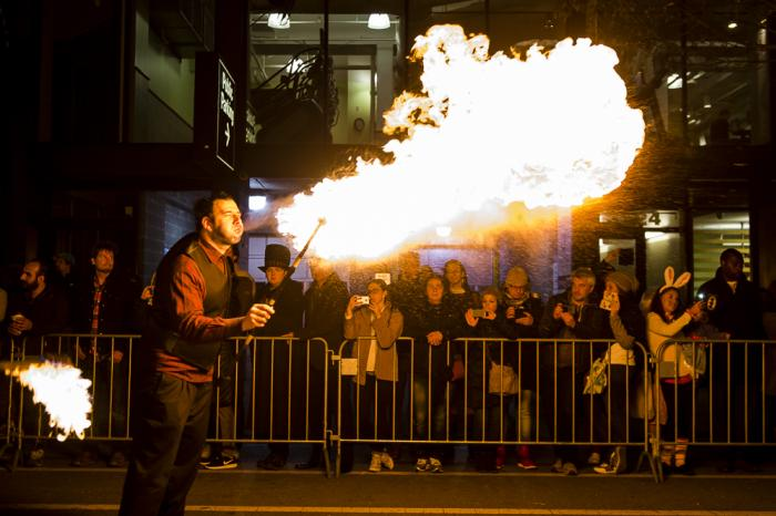 Fire performer at the Northalsted Halloween Parade in Chicago