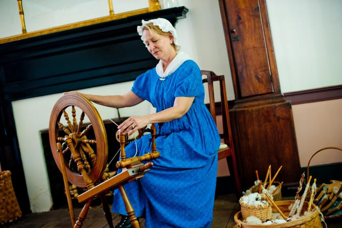 Alabama Constitution Village spinning wheel