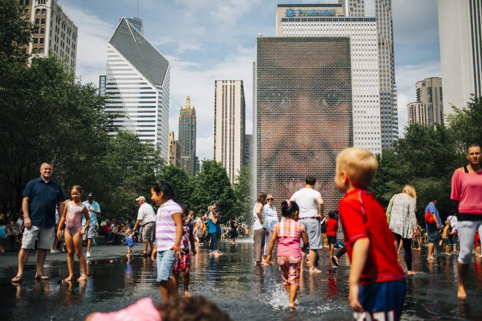Families playing in Crown Fountain, Millennium Park