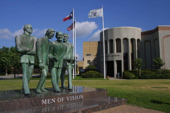 Statues greet visitors at the entrance to the Texas Energy Museum.