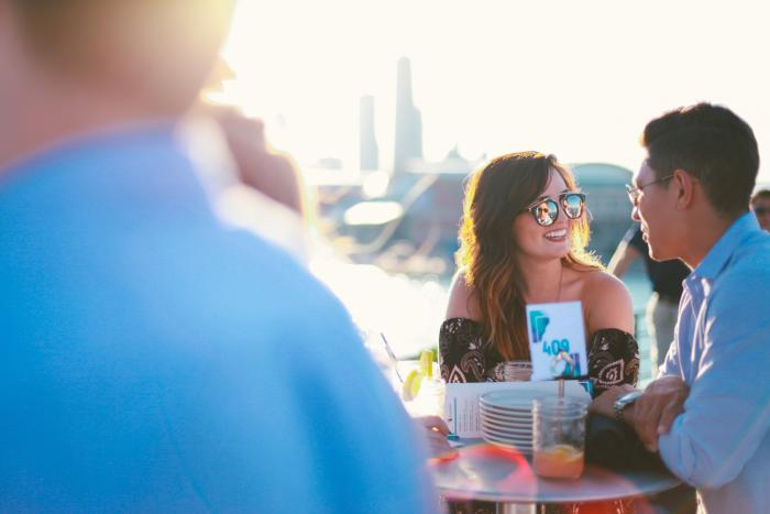 Couple enjoying dinner on a Mystic Blue cruise in Chicago