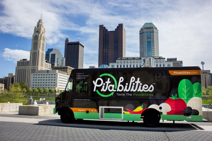 Pitabilities food truck in front of city skyline under blue sky