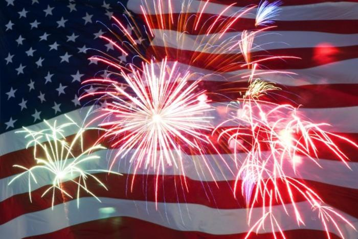 American Flag Fireworks Background