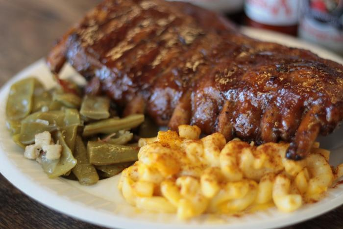 Carolina Brothers BBQ plate with ribs, mac n' cheese, and green beans