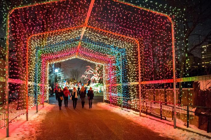Girls Walking Through Lincoln Park Zoo ZooLights in Chicago