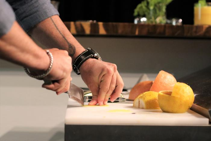 Slicing fruit at YNK California