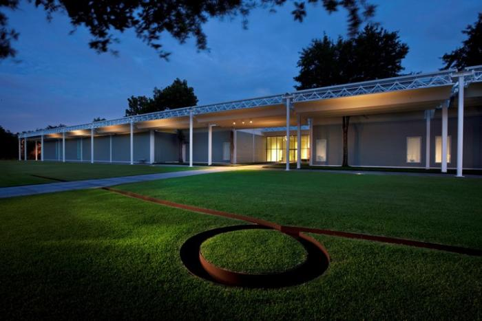 Lawn and porch in front of The Menil Collection in Houston
