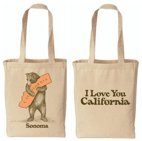 I Love You Sonoma California bear tote bag