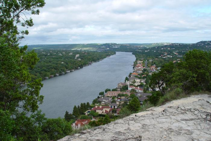 View from top of Covert Park at Mount Bonnell in Austin Texas