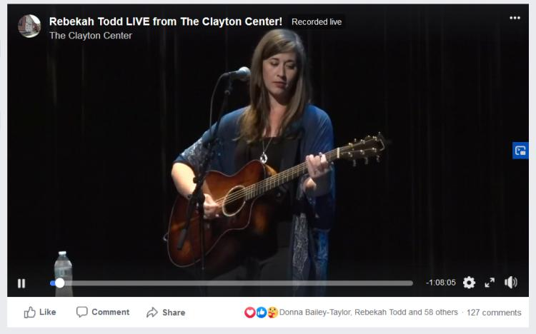 Screen Shot of Rebakah Todd Preforming Virtually at the Clayton Center