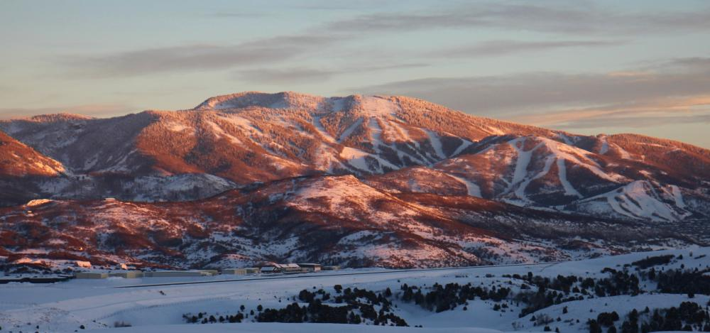 Mt. Werner glows over Steamboat Springs, Colorado
