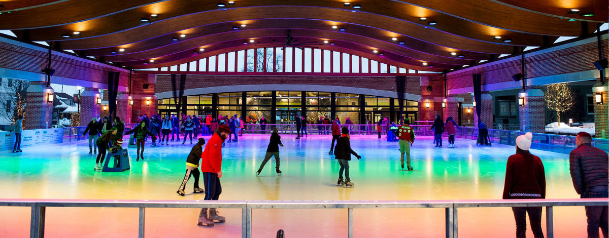 People Ice Skating on colorful ice in Northwest Indiana