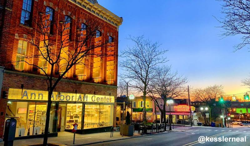 Sun setting on Ann Arbor Art Center and Fleetwood Diner