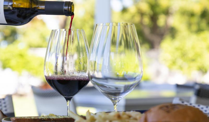 Wine pouring at Brix Restaurant & Gardens in Napa Valley, CA