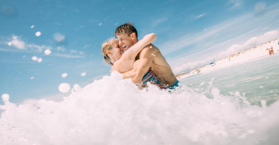 Romance couple in beach