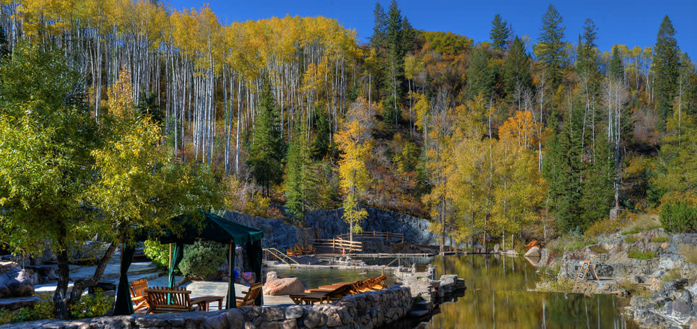 Fall at Strawberry Park Hot Springs outside of Steamboat Springs, CO