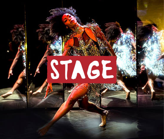 Cucalorus Stage image with Dancer in front of mirror panels