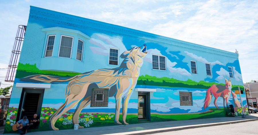 Mural at Wells and Fourth Streets, but Jerrod Tobias Studios