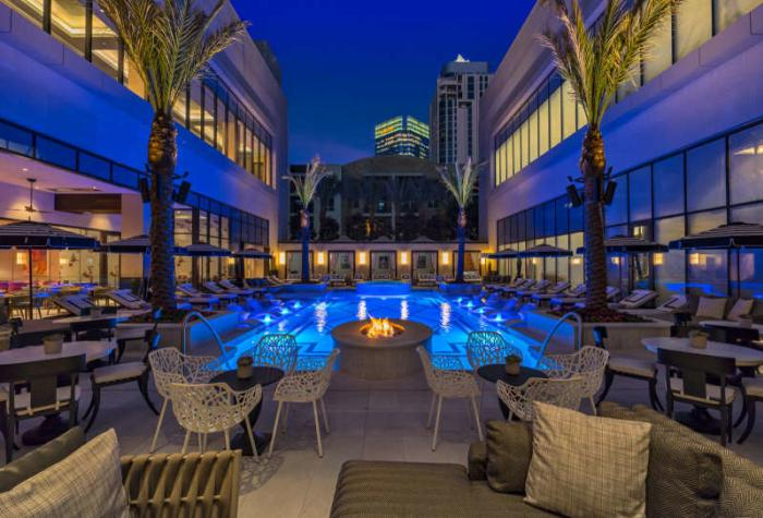 Pool in the courtyard of The Post Oak Hotel in Uptown Houston