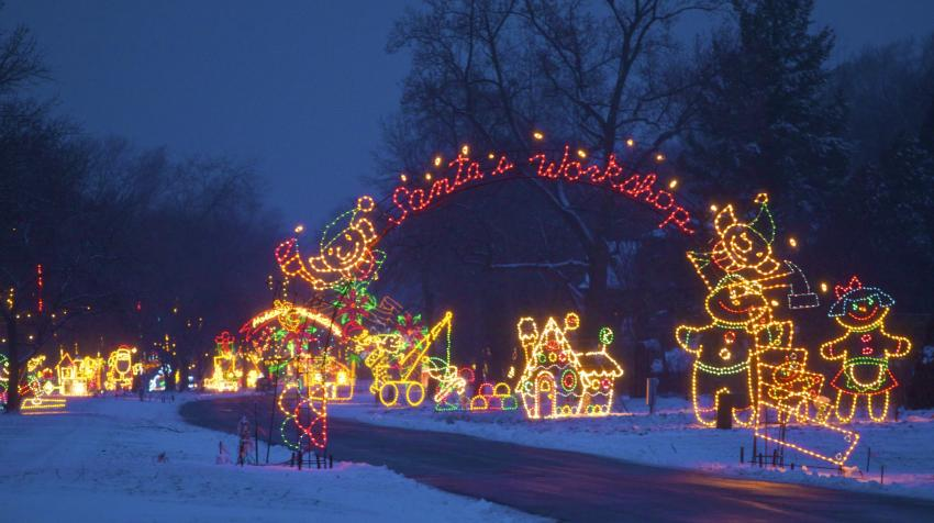 Santa's Workshop display at Lights on the Lake Syracuse