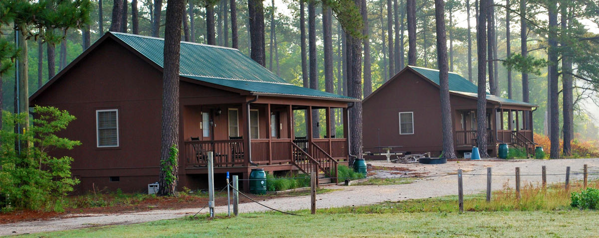 Two cabins visitors can stay in at Howell Woods in Four Oaks, NC.