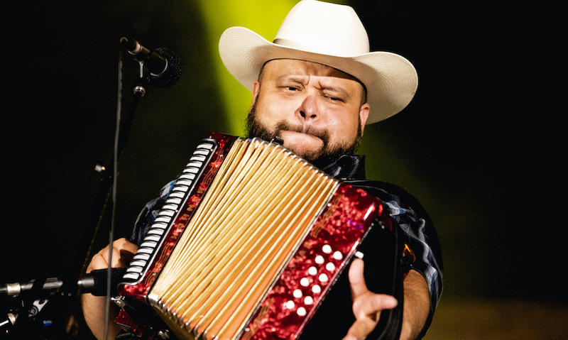Acordian player and vocalist Abel Casillas of the Squeezebox Bandits performs live