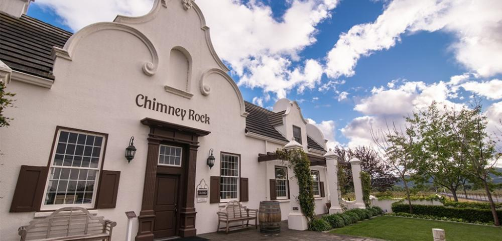 The main building at Chimney Rock Winery was inspired by Cape Dutch-style architecture of South Africa.