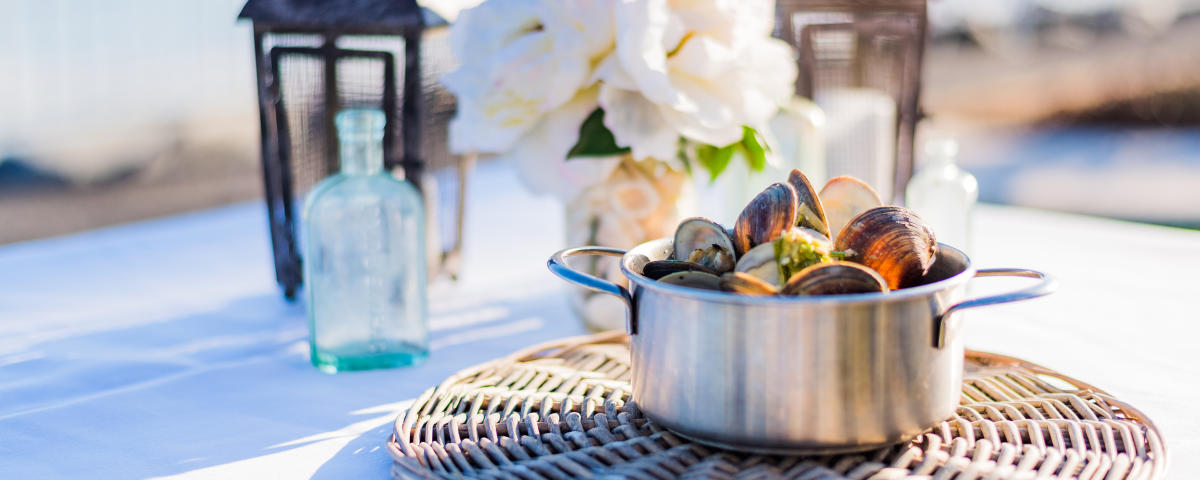 A large bowl of fresh clams is served at an oceanfront restaurant on St. Simons Island, GA