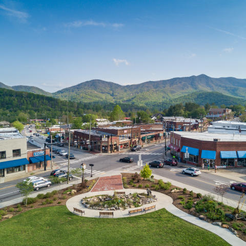Aerial view of Black Mountain, N.C.