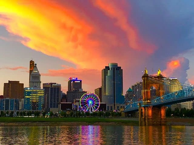 Skystar at Sunset with Roebling and Cincinnati Skyline