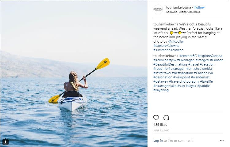 Photo of Tourism Kelowna instagram