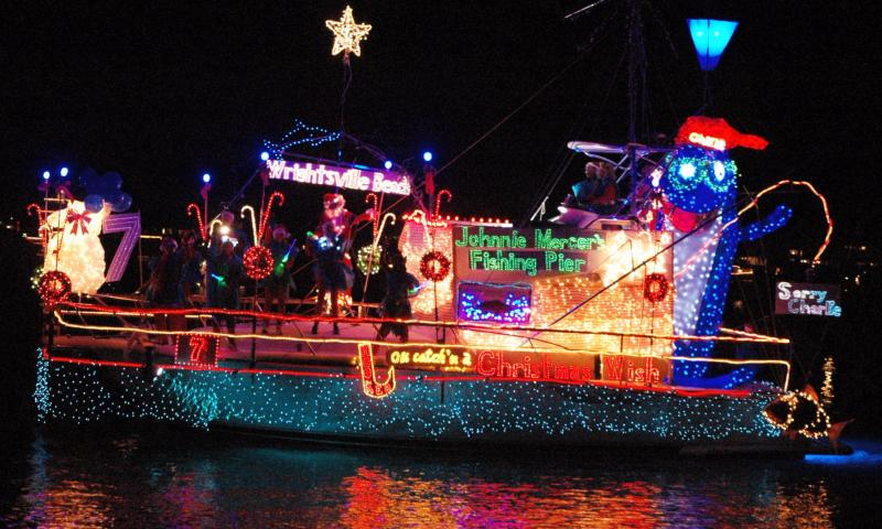 Holiday Flotilla decorated with lights in North Carolina