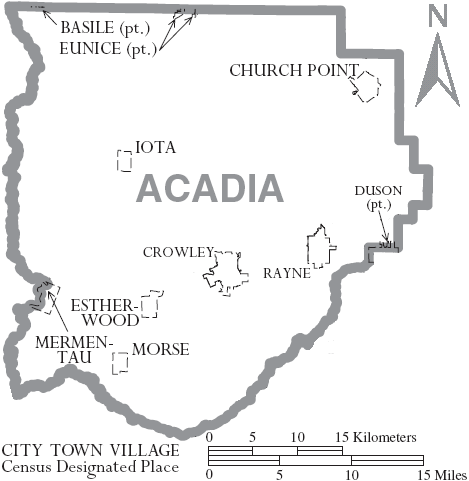 Louisiana State Map With Cities And Parishes.Acadiana By Parish