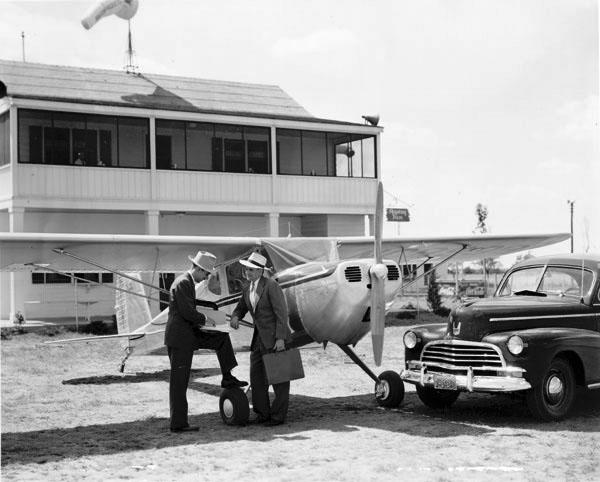 Cessna Airplane at Wilson Field Skyway Inn 1946