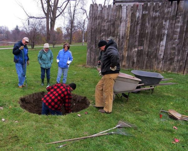 Prepping the hole for the tree