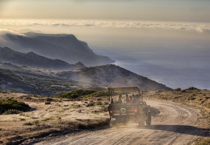Hummer tour driving on dirt roads along hills on Catalina Island