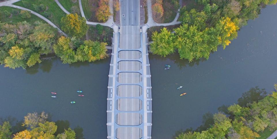 Kayaks along the St Marys River at the MLK Bridge near Headwaters Park