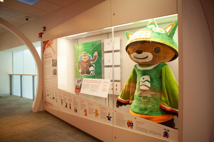 A 2010 mascot inside the Olympic Experience