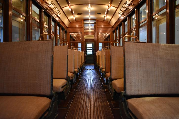Inside the Steveston Tram.