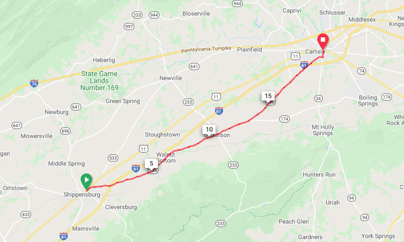 Shippensburg to Carlisle - Safest Direct Route