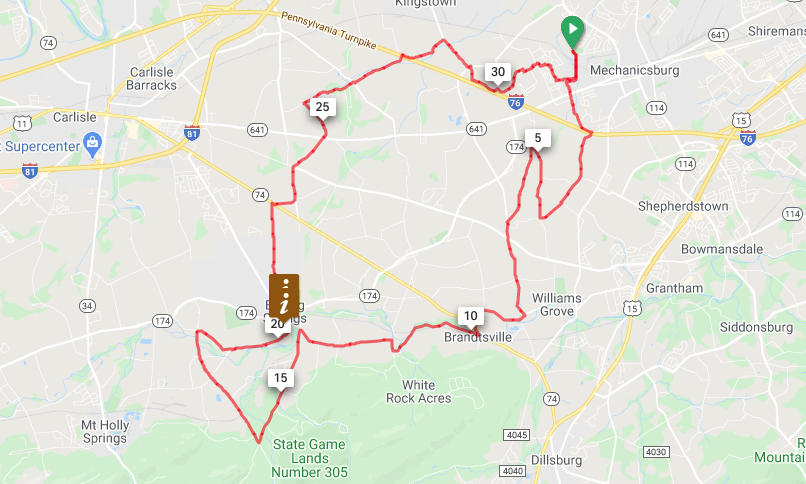 Mechanicsburg to Boiling Springs Loop - 32 miles