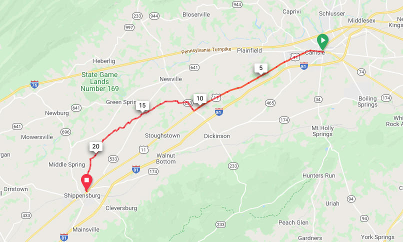 Carlisle to Shippensburg - Option 1