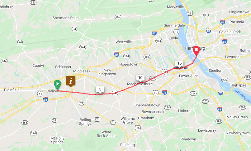 Carlisle to Mechanicsburg, Camp Hill, Lemoyne and Harrisburg - Direct Route