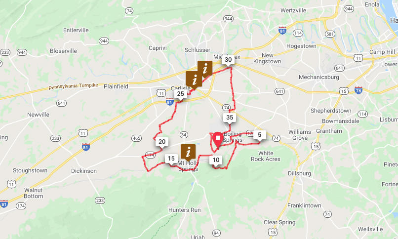 Boiling Springs to Mt. Holly Springs and Carlisle Loop