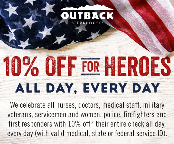 Outback Steakhouse - Memorial Day discount