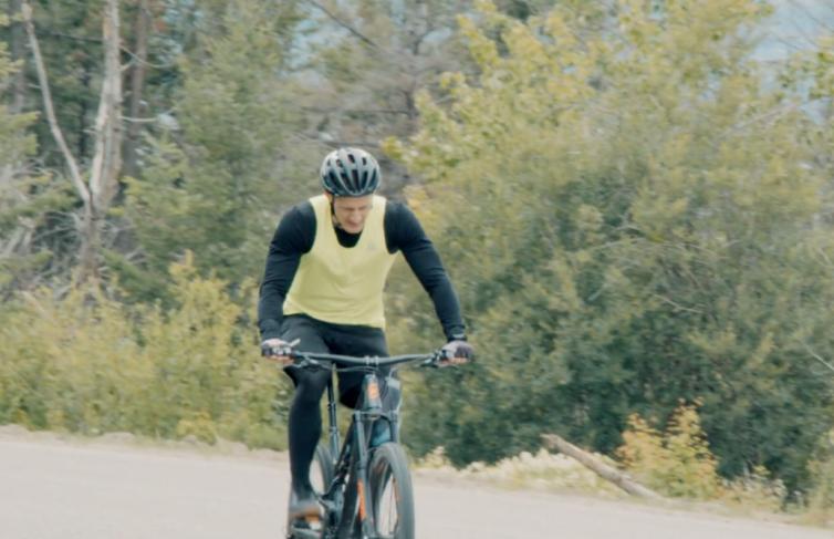 Brent Biking at Myra Canyon