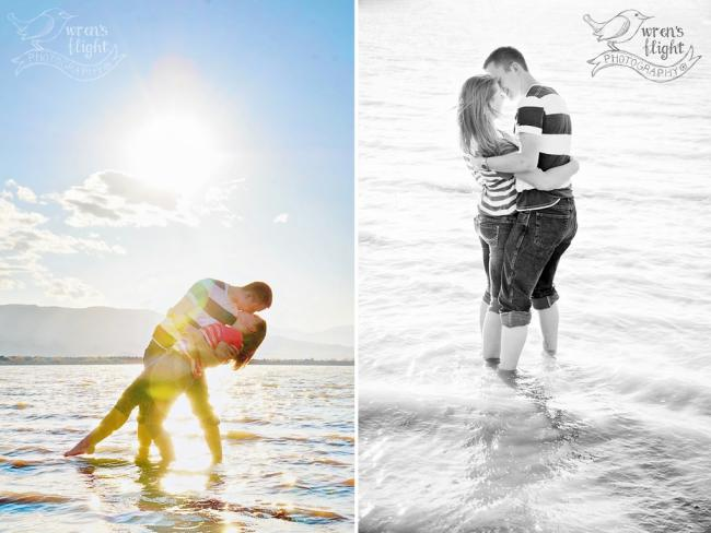 Utah Lake Beach Dip Kiss in Water Provo Engagement Photo Session