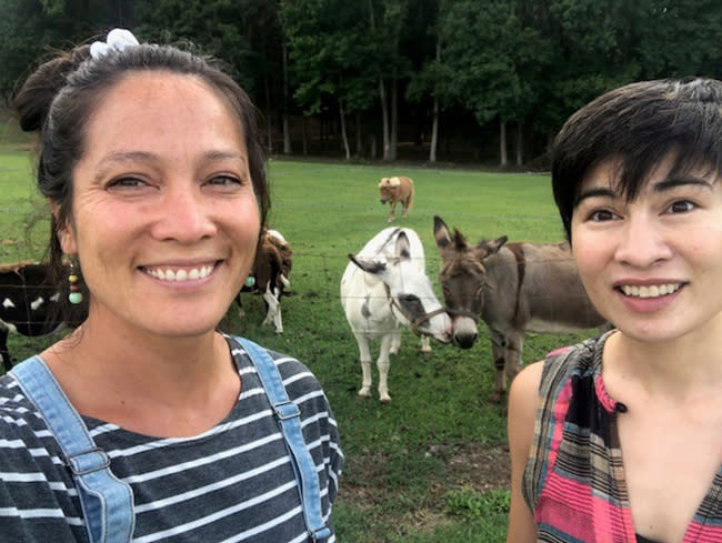 Maylin and Chela with the animals